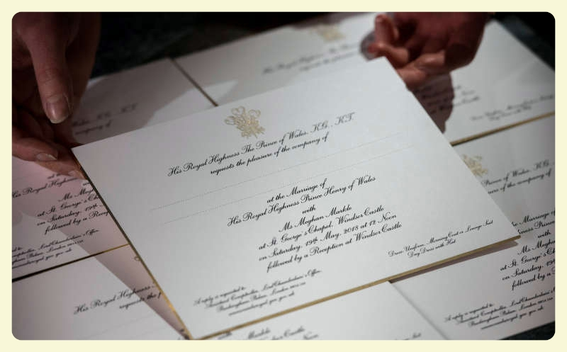 Invitations for Britain's Prince Harry and Meghan Markle's wedding in Windsor Castle in May, are seen after they have been printed at the workshop of Barnard and Westwood in London